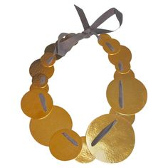 Herve Van Der Straeten Multi Circle Ribbon Back Necklace | From a unique collection of vintage choker necklaces at https://www.1stdibs.com/jewelry/necklaces/choker-necklaces/