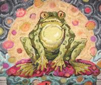 """Froggy Moon"" Tish Murphy - love this one! Ordered the footstool pattern from TishKits. Hook Punch, Rug Inspiration, Rug Hooking Patterns, Hand Hooked Rugs, Floor Cloth, Types Of Rugs, Little Birdie, Wool Art, Braided Rugs"