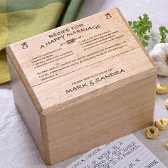 Recipe For A Happy Marriage Recipe Box And Cards