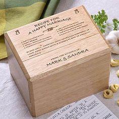 Recipe for a Happy Marriage Personalized Recipe Box - 1261
