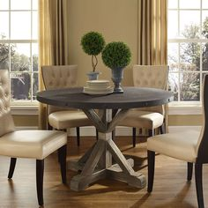 Saga Wood Top Dining Table Brown