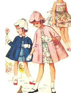 Simplicity 3803 Vintage 60s Toddler  great hat. and coat. and dress.