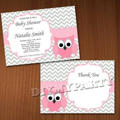 Owl Baby Shower Invitation Girl Baby Shower by diymyparty on Etsy