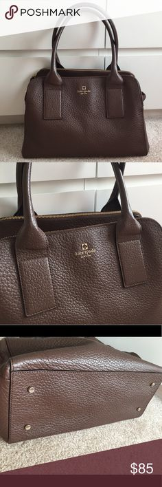 Kate Spade Southport Ave. Lydia Bag Brown Pebbled leather with hot pink striped interior lining. In Very good pre owned condition. kate spade Bags Totes