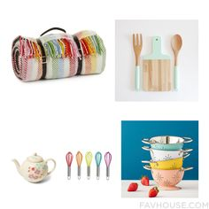 Decorating Idea With Tweedmill Blanket Wood Cutting Board Kitchen Gadgets & Tools And Floral Teapot From February 2016 #home #decor