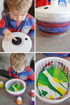 Spin Art using paper plates, washable paint, a salad spinner, and scissors!