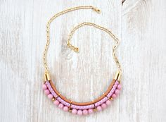 Pardes Designed Pink Jade Beaded Statement  Necklace with Long Chain