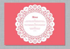 Printable Wedding Menu Placemat  Doily by mikiodesign on Etsy, $25.00