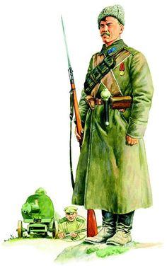 """Szeregowy piechoty rosyjskiej w szynelu """"niższich czinow"""" i papasze, uzbrojony w karabin Mosin wz. 1891 z bagnetem i granat ręczny austriacki"""