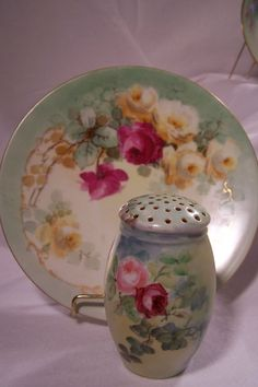 Lovely Full-Colored Antique Sugar Shaker Muffineer Hand-Painted w/ Pink and Red Roses on Unmarked Bavarian Porcelain