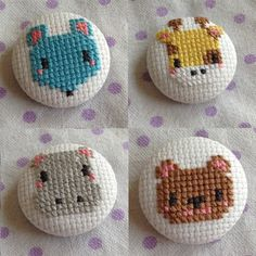 Tiny Cross Stitch, Cross Stitch Animals, Embroidery Patterns, Cross Stitch Patterns, Crochet Cross, Art Drawings Sketches, Needle And Thread, Cross Stitching, Sewing Hacks