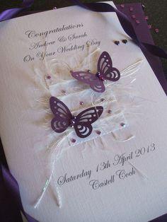 Handmade Personalised Boxed Luxury Wedding Card Butterfly Design | eBay