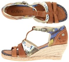 "Kickers – Spadali: $31.50, 55% off! (normally 70.00)    Unique and fun, you will fall in love with these adorable sandals by Kickers. Leather and cloth upper, 2 1/2"" heel and 3/4"" platform."