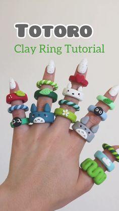 Diy Crafts Jewelry, Fun Diy Crafts, Clay Crafts, Fimo Ring, Polymer Clay Ring, Polymer Clay Animals, Diy Clay Rings, Crea Fimo, Ring Tutorial