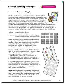 Complete lessons for teaching Multiple Intelligence Theory to upper elementary or middle school students $