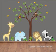 Baby Wall Decals - 131 - Nursery Wall Decals -  Jungle Wall Decals. $169.95, via Etsy.