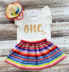 First Birthday Outfit Girl, 1st Birthday Shirts, Baby Girl 1st Birthday, Tutu Outfits, Girl Outfits, Mexican Birthday Parties, Mexican Party, Fiesta Outfit, Fiesta Theme Party