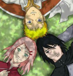 Team 7, Naruto, Sakura, Sasuke, Rinnegan, Seventh Hokage, laying down; Naruto