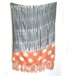 Grey & Salmon Cotton Voile Scarf by Proud Mary by Proud Mary | Imilla Road