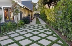 driveway with pavers & Grass