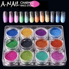 12boxes/set Hot Sale 12 Colors Holographic Glitter Laser Powder Nail Glitter Manicure Nail Art Chrome Pigment DIY Nails