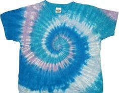 Aqua spiral tie dye shirt.