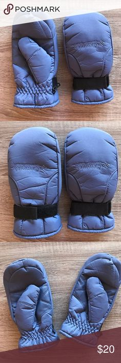 Columbia Waterproof Fleece Lined Winter Mittens Keep warm in the winter with these waterproof mittens from Columbia.  Blue periwinkle color with black Velcro to tighten them to your wrists.  Fleece interior to keep your hands warm.  - Size Medium M Columbia Accessories Gloves & Mittens