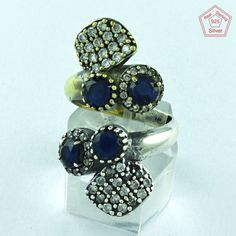 New Sapphire Agate & CZ Stone Fancy 925 Sterling Silver Adjustable Ring…