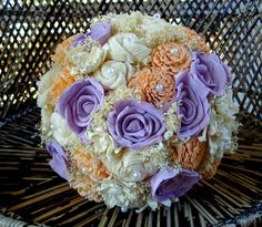 Peach and Lavender bridal bouquet sola flower bouquet Rustic Bridal Bouquets, Rustic Bouquet, Alternative Bouquet, Alternative Wedding, Small Bouquet, Flower Bouquets, Sola Flowers, Rustic Wedding, Lavender