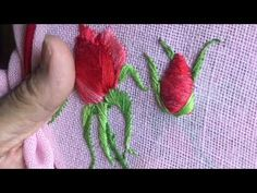 Hand embroidery easy stitch how to make Padded flower with wool - YouTube