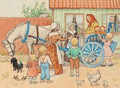"Elsa Beskow - Young farmer's wife from ""Skogstorp"" brings milk to town - Peter and Lotta's Christmas Nordic Art, Scandinavian Art, Elsa Beskow, Vintage Book Art, Vintage Images, Young Farmers, Literary Characters, Art Folder, Artists For Kids"