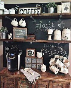 Coffee Bar Ideas - Bar ideas station ideas you need to see (coffe bar ideas) Coffee Bar Ideas - Looking for some coffee bar ideas? Here you'll find home coffee bar, DIY coffee bar, and kitchen coffee station. Coffee Bars In Kitchen, Coffee Bar Home, Home Coffee Stations, Coffee Wine, My Coffee, Coffee Station Kitchen, Ninja Coffee, Coffee Shops, Bar In Kitchen