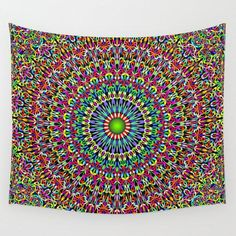Happy Garden Mandala Wall TapestryOur lightweight Wall Tapestries feature vivid colors and crisp lines, giving you an awesome centerpiece for any space. Our tapestries aren't just wall hangings either - they're durable enough to use as tablecloths or pi… Mandala Tapestry, Mandala Art, Wall Tapestry, Yin Yang, Zen Room Decor, Art Simple, Mandalas Drawing, Home Decor Quotes, Tapestry Design
