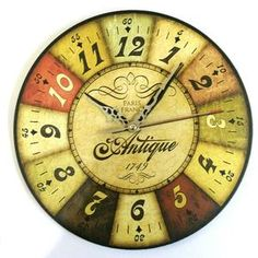 Jam Dinding Motif Vintage Number Paris - Handicraft Wall Clock - Kool Katz