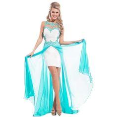 Pre-owned White/aqua 2874 Dress (4.855 CZK) ❤ liked on Polyvore featuring dresses, aqua cocktail dress, sweetheart dress, short skirts, sheer mini skirt and transparent dress