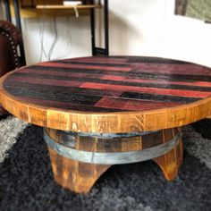 Just finished Monday. Wine Barrel Coffee Table. 4-29-13