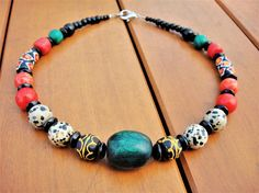Ethnic Beaded Necklace Natural Stone Necklace African Ghana