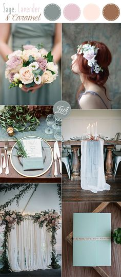 sage green, lavender and caramel nude moody wedding color inspiration
