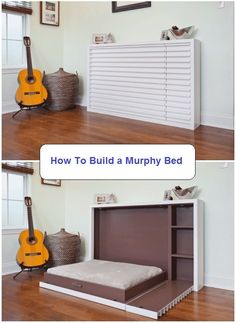 A Murphy bed, also known as a wall bed or pull-down bed, is a hinged bed that can be stored away easily. Pick one of these murphy bed plans to suit you. Decorate Your Room, Furniture, Bed, Build A Murphy Bed, Diy Furniture, Diy Bed, Small Bedroom, Home Decor, Room