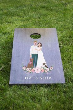 Wedding Cornhole Set with Couple Portrait  Summer Wedding
