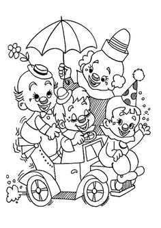 Papa clown fait son spectacle avec ses bébés clowns, un beau dessin à colorier.