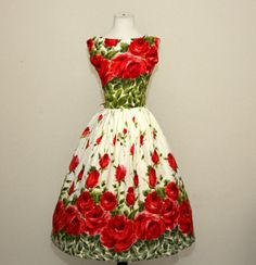 vintage 1950's bold red roses cotton pin up dress by dLeChe, $170.00