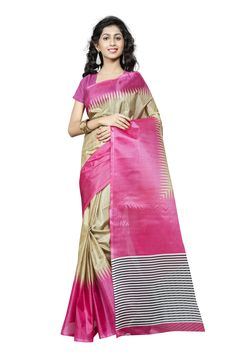 http://www.thatsend.com/shopping/lp/fvp/TESG229000/qf/color[]pink  Pink Silk Casual Saree Apparel Pattern Printed. Work Print. Blouse Piece Yes. Occasion Festive, Sangeet. Top Color Pink.