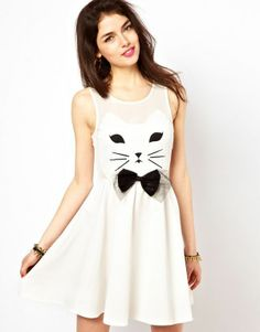 I'm afraid that Chelsea might wear a dress like this someday.  Crazy cat lady in training!!