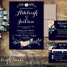 Printable Wedding Invitation - Navy Wedding Invitations with Floral Hand Painted Rustic Wedding Invitations