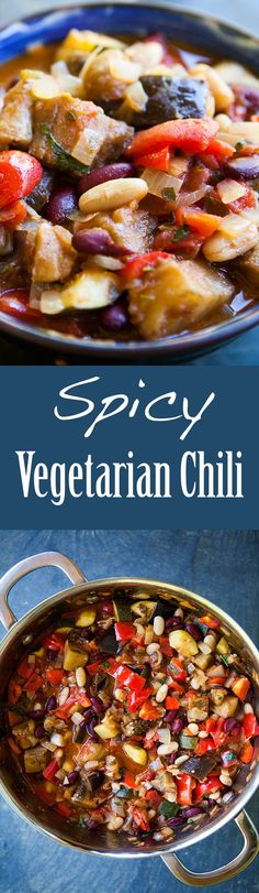 Spicy Vegetarian Chili ~ Vegetarian chili with eggplant, plum tomatoes, onion, garlic, zucchini, bell peppers, jalapenos, white beans, kidney beans, and cilantro. ~ SimplyRecipes.com