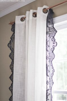 Shabby Chic Decor and Bedding Ideas - Anthropologie Inspired Lace Curtains - Rustic and Romantic Vintage Bedroom, Living Room and Kitchen Country Cottage Furniture and Home Decor Ideas. Step by Step Tutorials and Instructions http://diyjoy.com/diy-shabby-chic-decor-bedding
