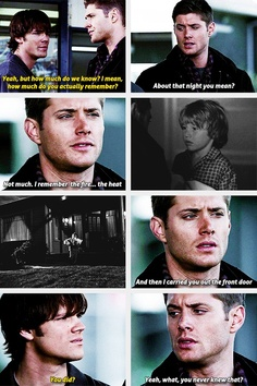 "1x09 Home - ""Not much. I remember the fire…the heat. And then I carried you out the front door.""  ""You did?""  ""Yeah, what, you never knew that?"" - Supernatural - Dean and Sam"