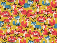 Foxy Foxes Cotton Canvas Mustard