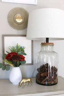 Fall House Tour {Part Two} - The Inspired Room Seasonally Filled Jar Lamp - Fall Pinecones Kristin a Decoration Bedroom, Diy Home Decor, Fillable Lamp, Glass Lamp Base, Glass Lamps, Best Desk Lamp, Decoration Christmas, Cool Lamps, Jar Lamp